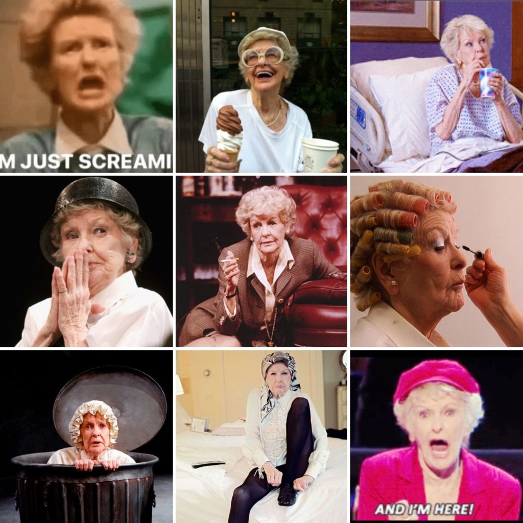 Nine photographs of Elaine Stritch in all her glory.